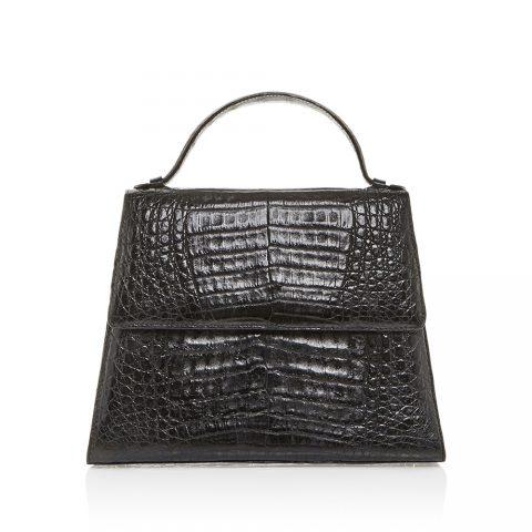 Hunting Season Black Crocodile Top Handle Bag as worn by Meghan Markle