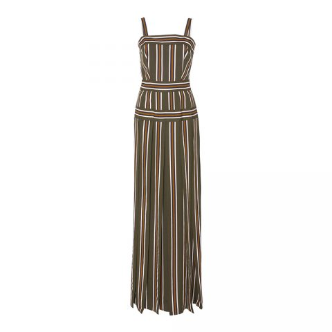 Martin Grant Pleated Stripe Long Dress as seen on Meghan Markle / Duchess of Sussex