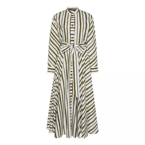 Martin Grant Striped Cotton Dress in Green as seen on Meghan Markle / Duchess of Sussex