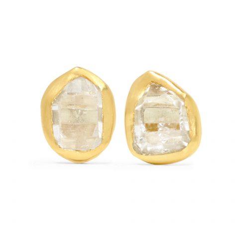 Pippa Small 18-karat gold Herkimer diamond earrings as seen on Meghan Markle, the Duchess of Sussex