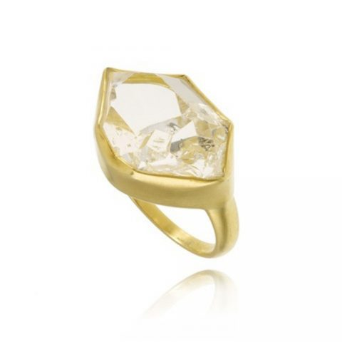 Pippa Small Herkimer Diamond Greek Ring as seen on Meghan Markle, the Duchess of Sussex