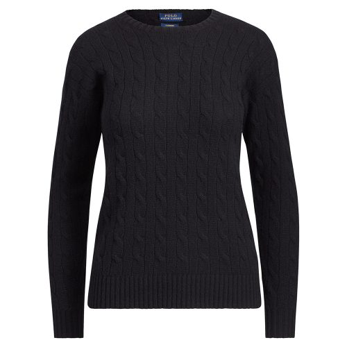 Polo Ralph Lauren Cable-Knit Cashmere Sweater in Black as seen on Meghan Markle, the Duchess of Sussex.