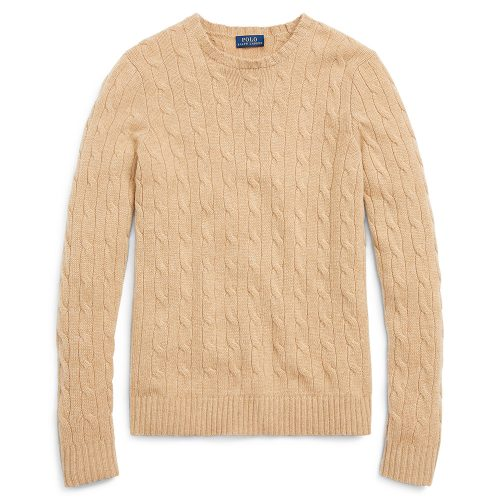Polo Ralph Lauren Cable-Knit Cashmere Sweater in Camel Melange as seen on Meghan Markle