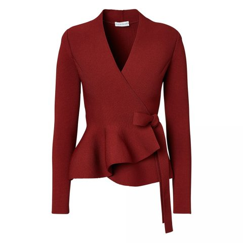 Scanlan Theodore Crepe Knit Wrap Jacket in Garnet as seen on Meghan Markle, Duchess of Sussex