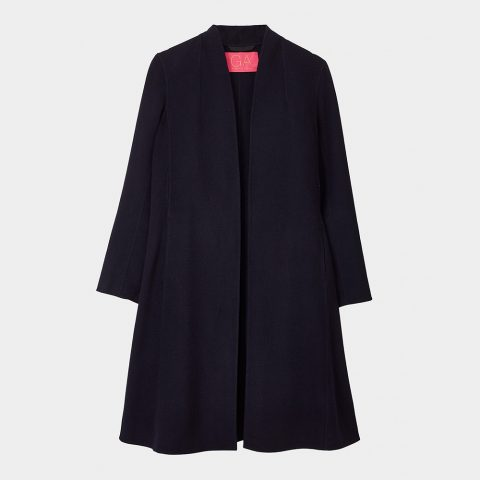 Winser London Gillian Anderson Soft Wool Swing Coat in Dark Navy as seen on Meghan, Duchess of Sussex