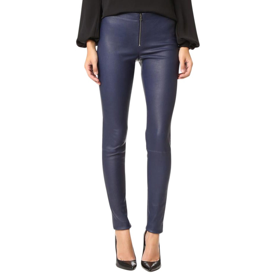 Alice + Olivia Front Zip Leather Leggings in Blue Navy as worn by Meghan Markle