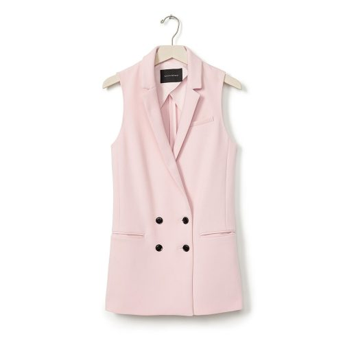 Banana Republic Blush Double-breasted Long Vest as seen on Meghan Markle