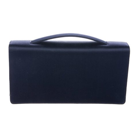 Dior navy satin clutch bag as worn by Meghan, Duchess of Sussex