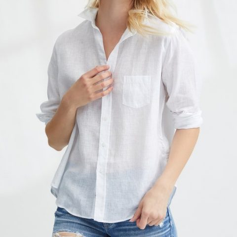 Frank & Eileen white Italian linen shirt as seen on Meghan Markle / Duchess of Sussex