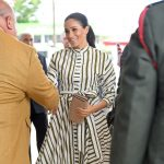 Meghan, Duchess of Sussex, arrives to meet the prime minister of Tonga.
