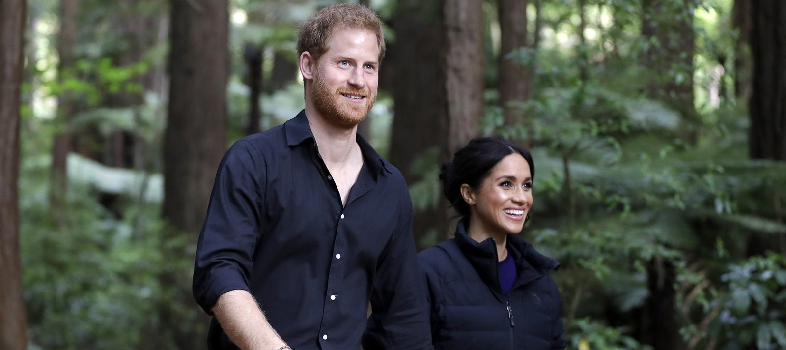 Meghan and Harry, Duke and Duchess of Sussex, at Rotorua's Redwoods Treewalk, marking the end of their 16-day 2018 Oceania tour.