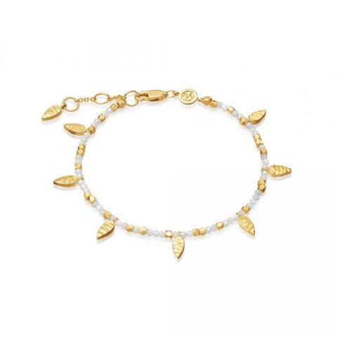 Missoma Gold Plated Rainbow Moonstone Beaded Leaf Bracelet as seen on Meghan Markle, Duchess of Sussex