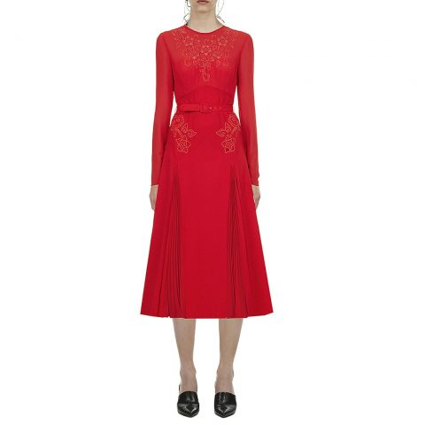 Self-Portrait red embroidered midi dress as seen on Meghan Markle / Duchess of Sussex
