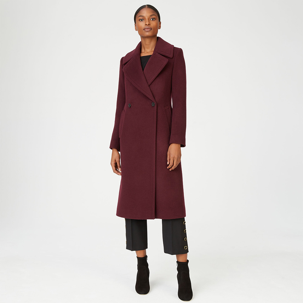 Club Monaco Daylina Coat in Burgundy as seen on Meghan, Duchess of Sussex