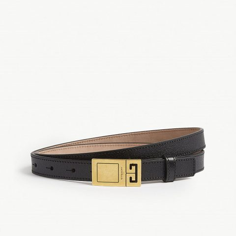 Givenchy Logo Skinny Leather Belt as seen on Meghan, Duchess of Sussex.