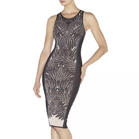 Herve Leger 'Vivien' feather-jacquard dress as seen on Meghan Markle