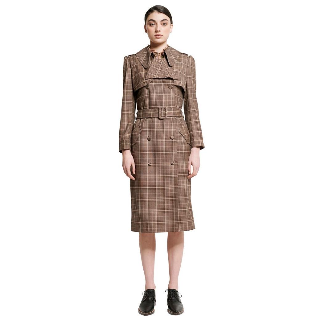Karen Walker 'Banks' George Suiting Trench Coat in Mocha as seen on Meghan Markle, Duchess of Sussex.