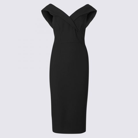 Marks & Spencer Double Crepe Bodycon Dress in Black as seen on Meghan, Duchess of Sussex.