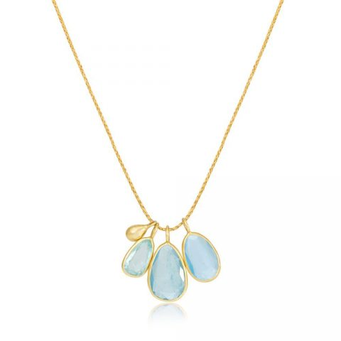 Pippa Small 18kt Gold and Aquamarine Colette Pendant/Necklace as worn by Meghan Markle, Duchess of Sussex.