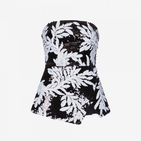 Safiyaa 'Malaya' strapless bustier peplum top as seen on Meghan, Duchess of Sussex