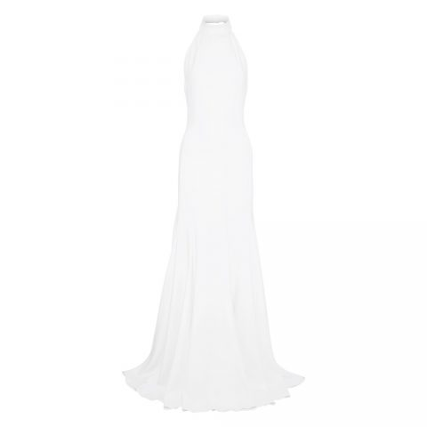 """Stella McCartney """"Made with Love"""" crepe halterneck bridal gown as worn by Meghan, Duchess of Sussex for her evening wedding reception."""