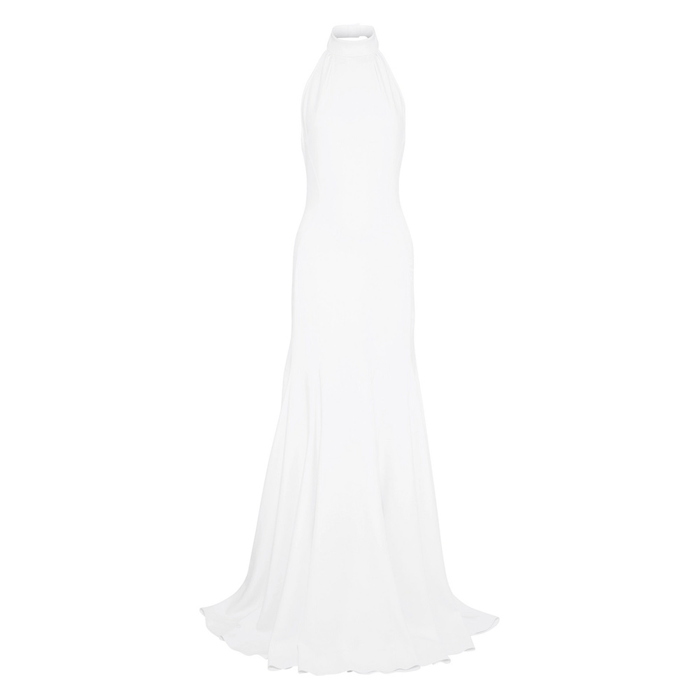 "Stella McCartney ""Made with Love"" crepe halterneck bridal gown as worn by Meghan, Duchess of Sussex for her evening wedding reception."