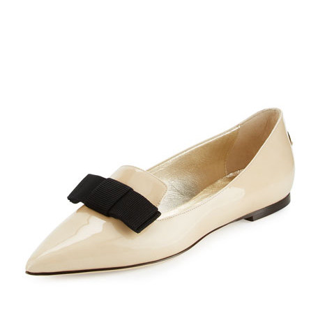 Jimmy Choo Gala patent beige point-toe flats as seen on Meghan Markle