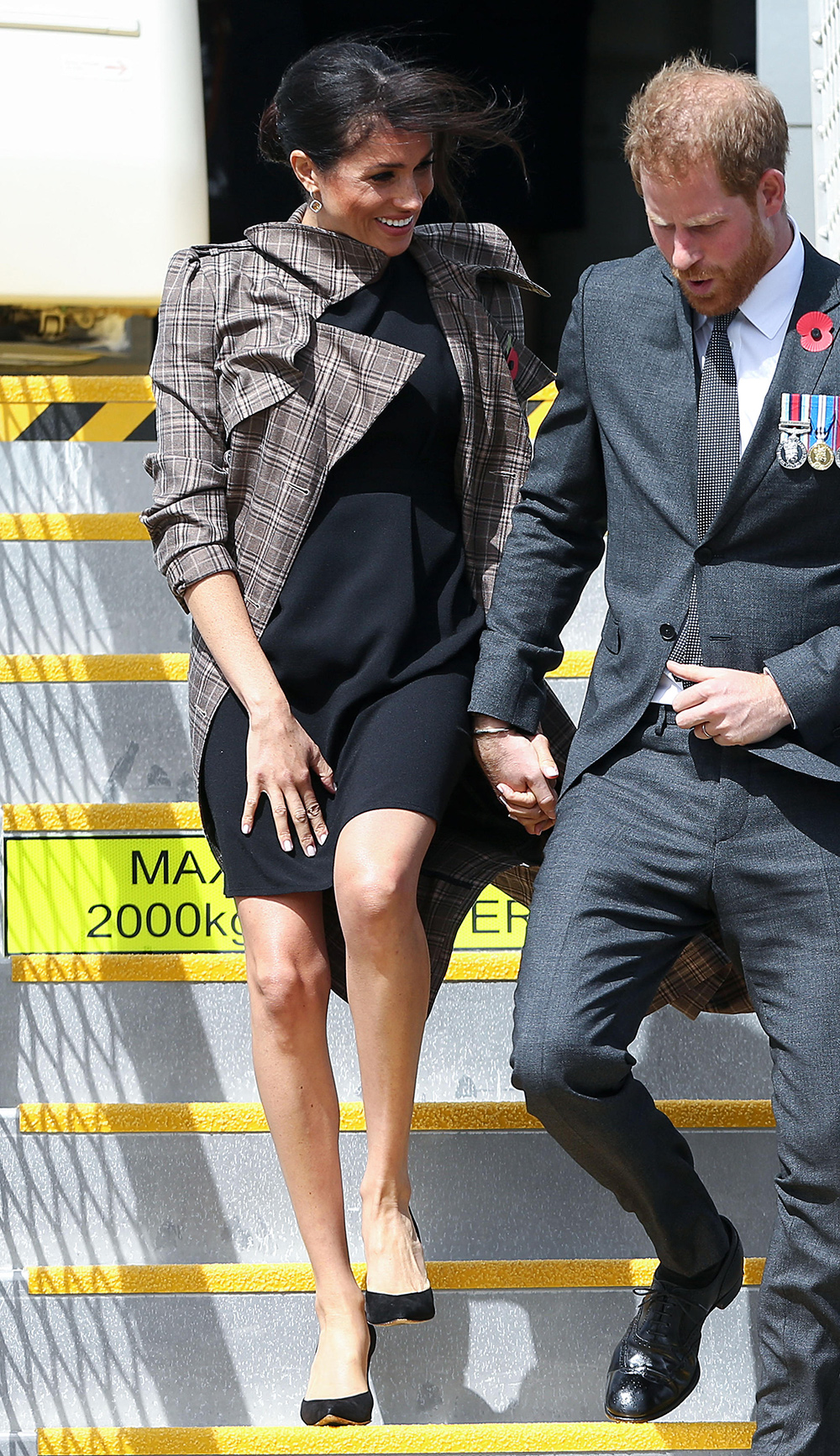 Meghan, Duchess of Sussex arrives at Wellington airport on October 28, 2018 in Wellington, New Zealand.