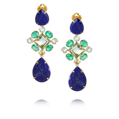 Bounkit gold-plated, lapiz lazuli and amethyst clip earrings as seen on Meghan Markle