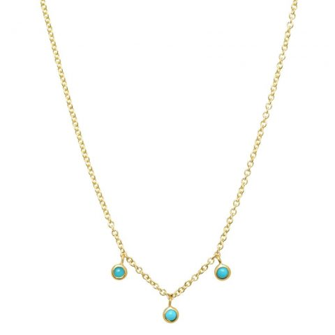 Jennifer Meyer 3 turquoise mini bezel dangle necklace as seen on Meghan, Duchess of Sussex.