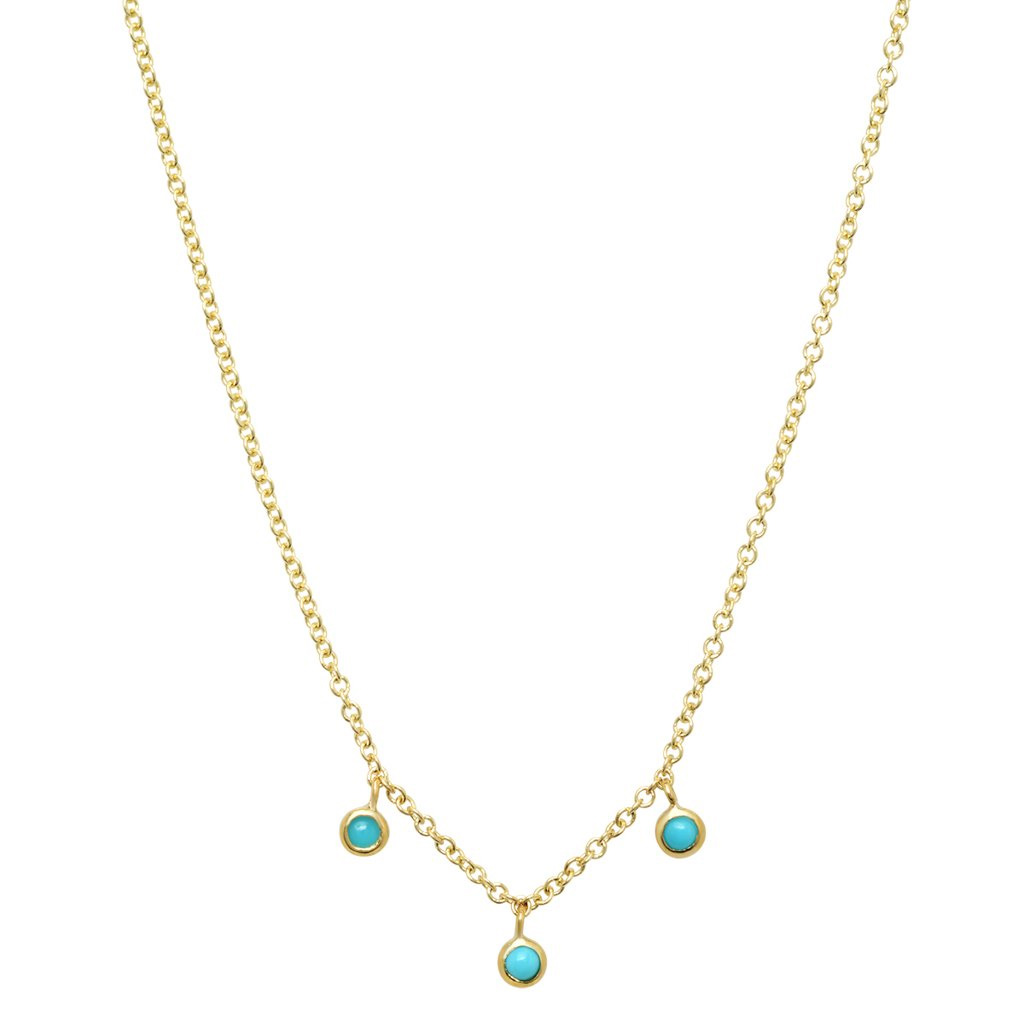 Jennifer Meyer 3 turquoise mini bezel dangle necklace as seen on Meghan, Duchess of Sussex.