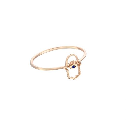 Kismet by Milka Hamsa 14K Gold and Sapphire Ring as seen on Meghan, Duchess of Sussex.