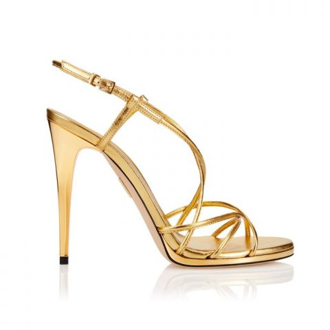 Tamara Mellon Karat Sandals in Gold as seen on Meghan, Duchess of Sussex.