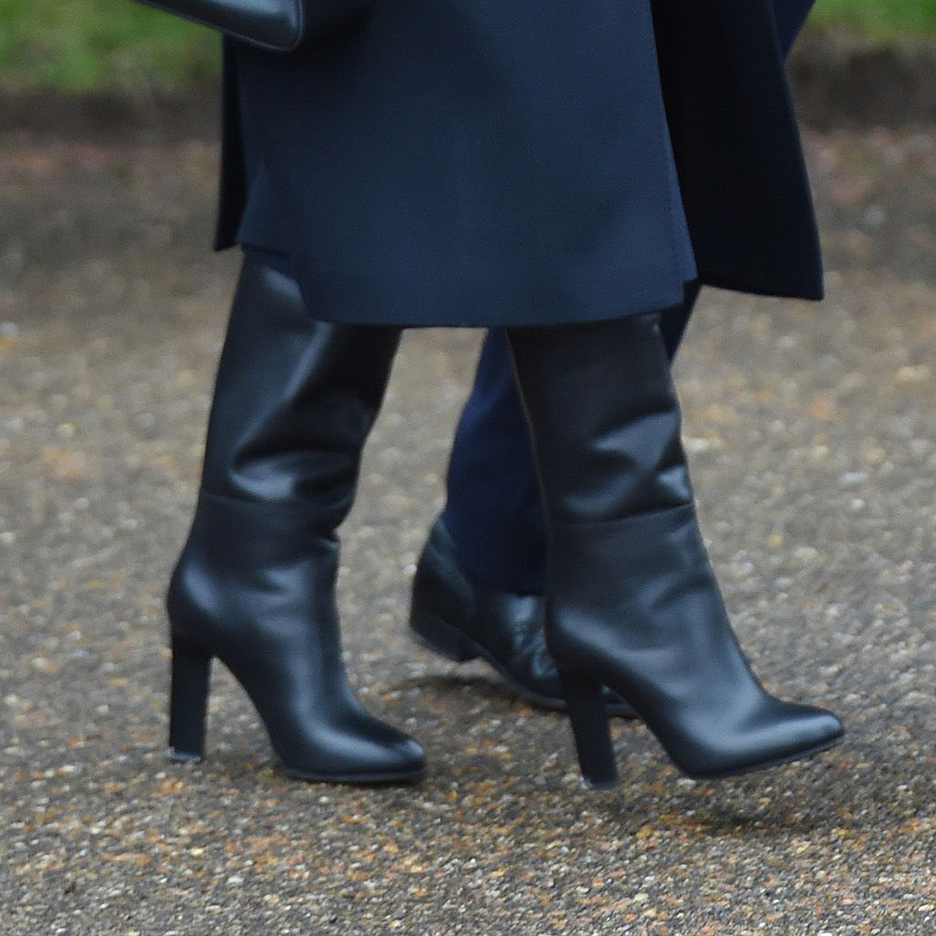 Shoe detail: Meghan, Duchess of Sussex attends Christmas Day Church service at Church of St Mary Magdalene on the Sandringham estate on December 25, 2018 in King's Lynn, England.