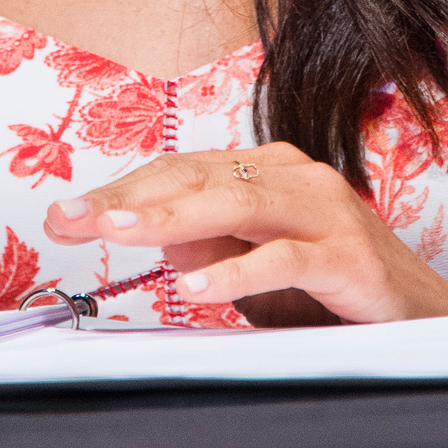 Ring detail: Meghan Markle at Suits script reading during the ATX Festival in June 2017.