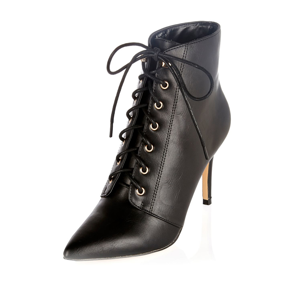 River Island Black Leather Pointed Lace Up Boots