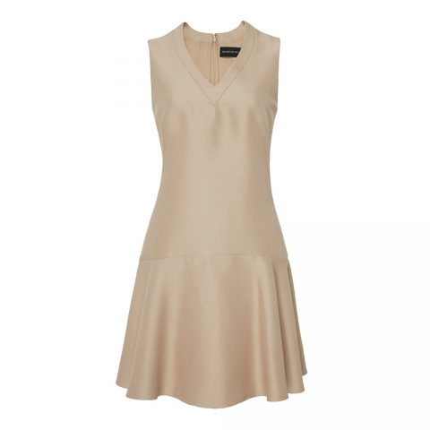 Brandon Maxwell V-neck mini dress in Neutral as seen on Meghan, Duchess of Sussex