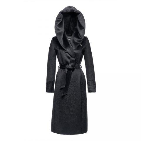 Sentaler long hooded wrap coat in Black Suri Alpaca as seen on Meghan Markle