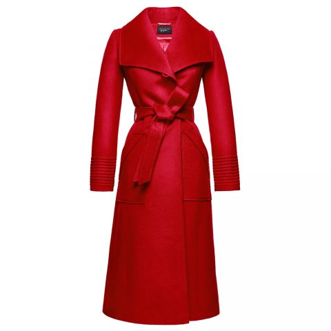 Sentaler long wide collar wrap coat in Scarlet Red as seen on Meghan, Duchess of Sussex