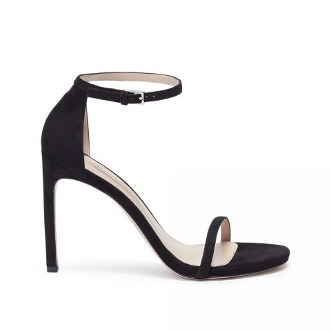 Stuart Weitzman 'Nudist Song' black suede sandals as seen on Meghan, Duchess of Sussex