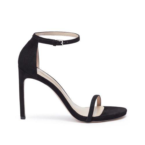 Stuart Weitzman 'Nudist Song' black suede sandals as seen on Meghan, Duchess of Sussex