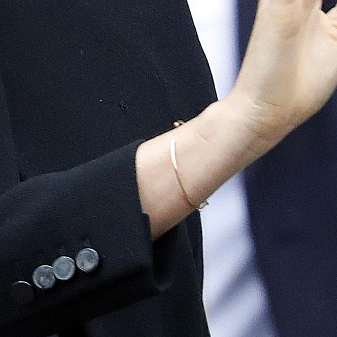 Bracelet detail - Meghan, Duchess of Sussex visits the Association of Commonwealth Universities at City, University Of London on January 31, 2019 in London, England.