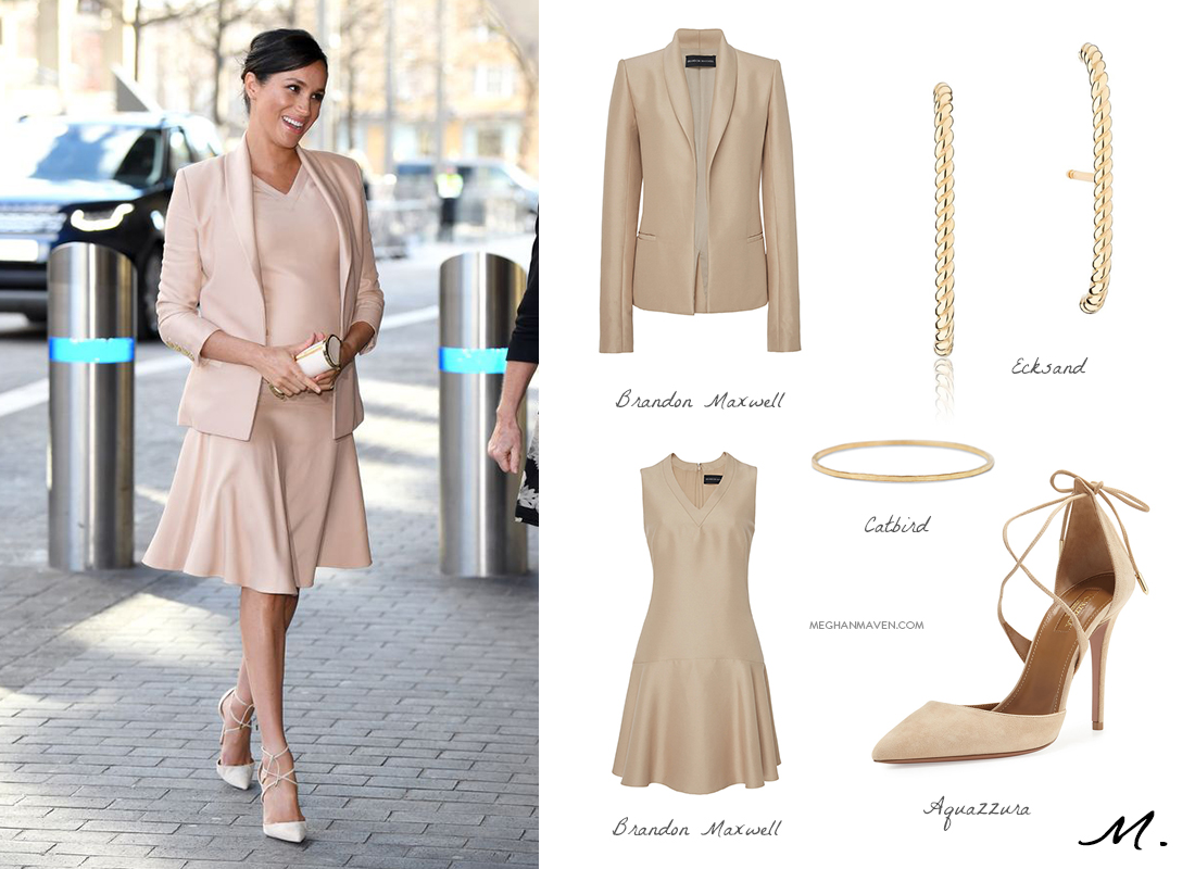 Shop the Look - Meghan, Duchess of Sussex visits The National Theatre on January 30, 2019 in London, England.