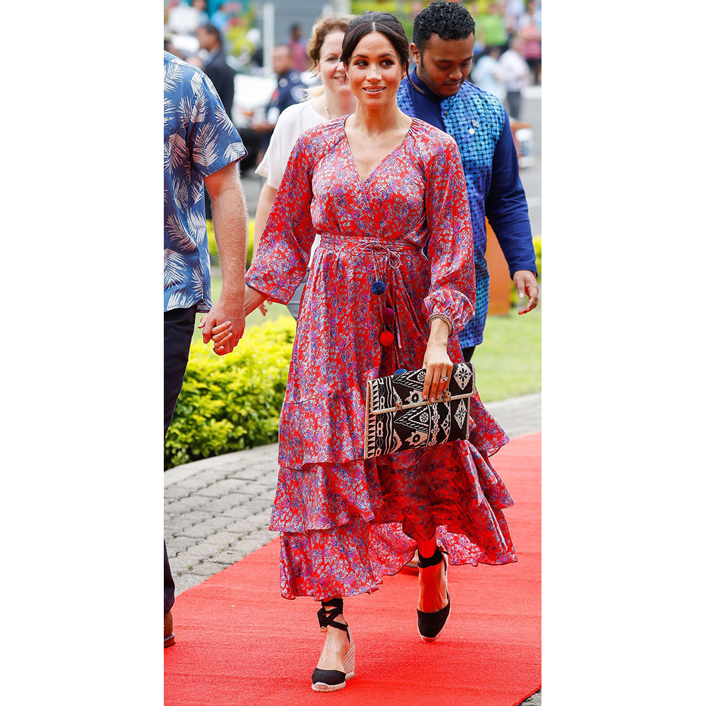 Meghan, Duchess of Sussex, arrives at the University of the South Pacific in Suva, Fiji.
