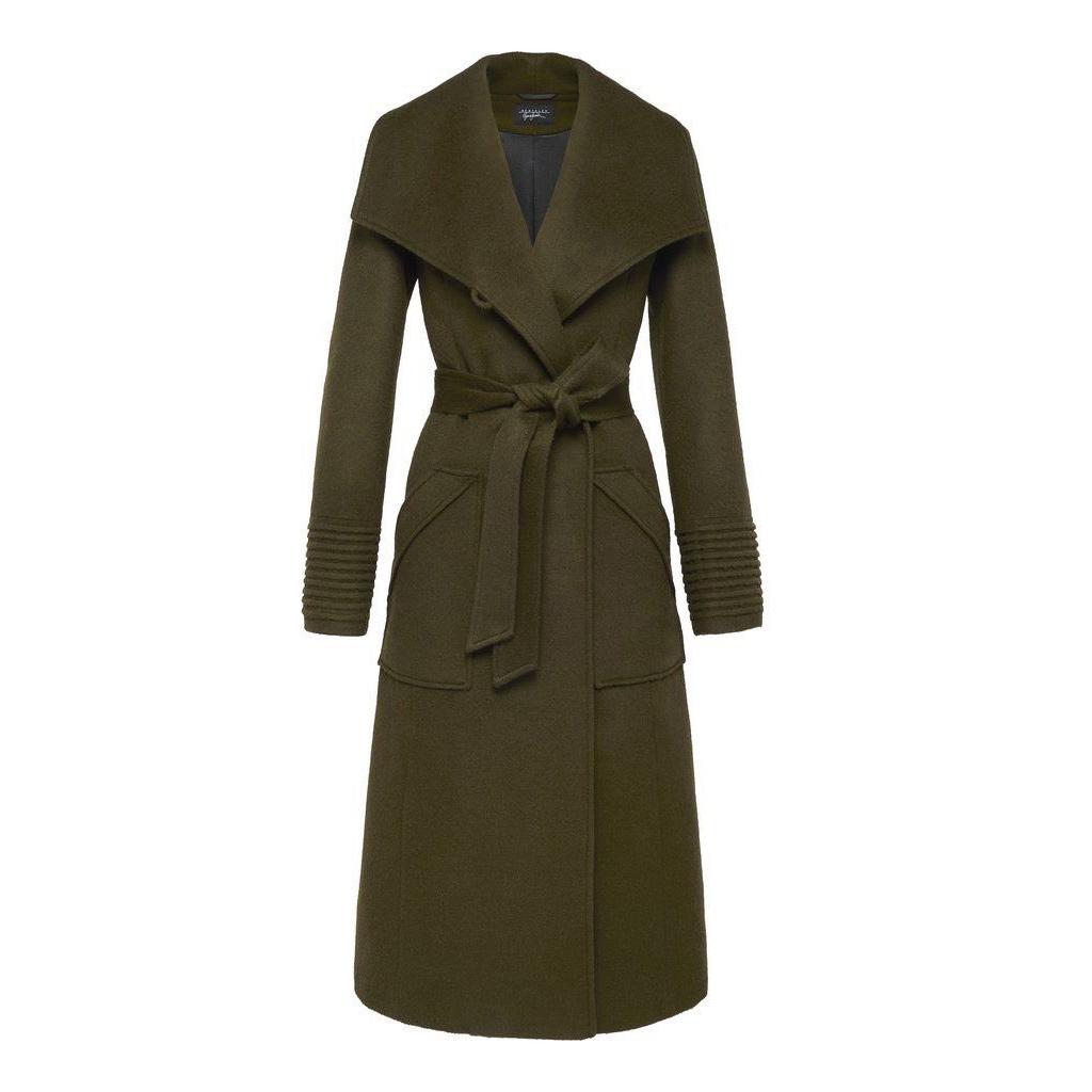 Sentaler long wide collar wrap coat in Forest Green as seen on Meghan Markle