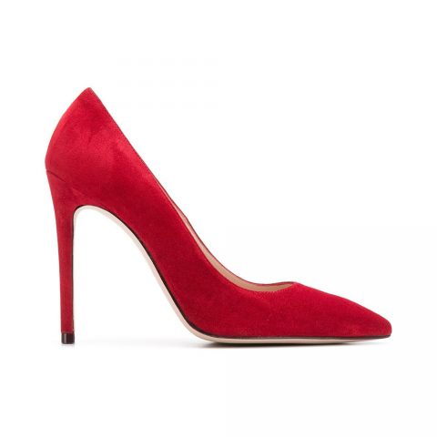 Stuart Weitzman Red Suede Pumps as seen on Meghan, Duchess of Sussex