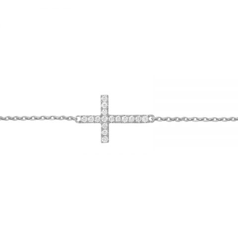 Vanessa Tugendhaft white gold and diamonds cross bracelet as seen on Meghan Markle