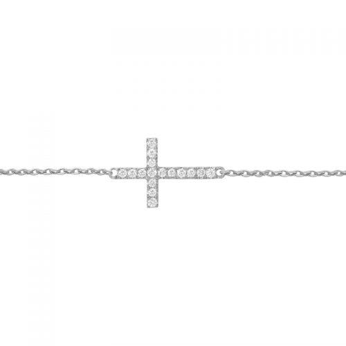 Vanessa Tugendhaft white gold and diamonds cross bracelet as seen on Meghan Markle