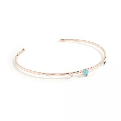 Wwake Three Stone 14k gold open cuff bracelet as seen on Meghan, Duchess of Sussex