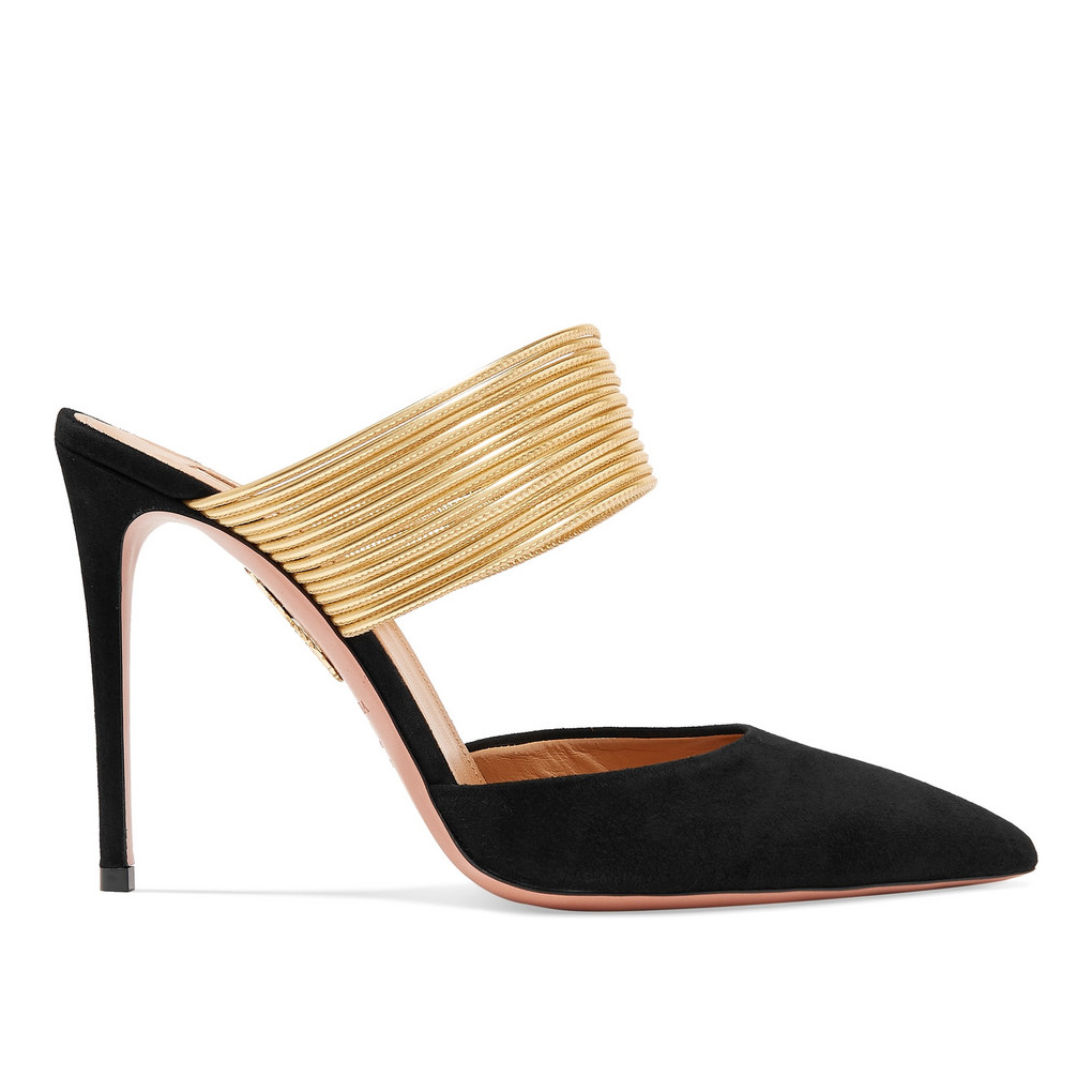 Aquazzura 'Rendez Vous' 105 suede and metallic leather mules as seen on Meghan, Duchess of Sussex